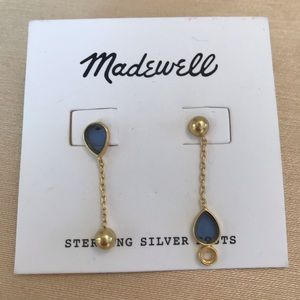 Madewell vintage gold and blue stone earrings